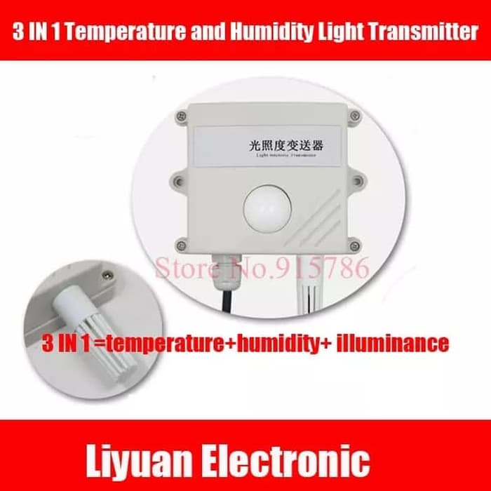 3 IN 1 Temperature Humidity Light Transmitter Lux Meter RS485